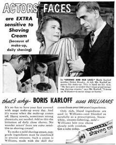 Of course, remember don't tell Boris Karloff that he looks like Boris Karloff when he's in Jonathan Brewster mode. Of course, he did originate the role of Jonathan Brewster on Broadway but he wasn't available for the movie. So Canadian Raymond Massey was cast in his role instead.