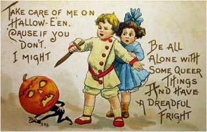 Not sure who I'm more scared of in this: the fearful jack o'lantern or the creepy boy with the knife. Decisions, decisions.