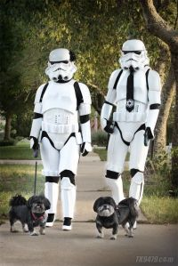 Nothing like seeing a couple of Stormtroopers walking their dogs on a quiet afternoon. Of course, I didn't know they wore any accessories on their uniforms.