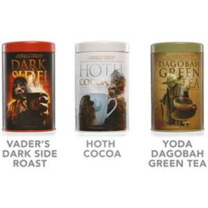 Now these consist of Vader's Dark Side Roast, Hoth Cocoa, and Yoda Dagobah Green Tea. Yeah, I know it's pretty ridiculous. But you can't make these things up.