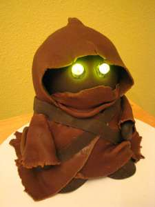 Yes, it's a cake of a droid robber who sells them for money. Still, I like the glowing eyes though.