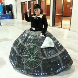 Now this is a clever costume. Love how she used part of the Death Star as a skirt.