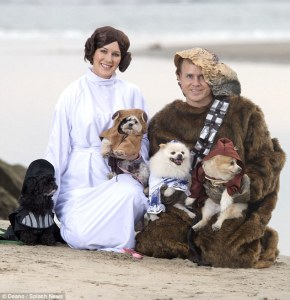 Let's see the humans are Chewbacca and Princess Leia. The dogs are Darth Vader, an Ewok, R2-D2, and possibly Obi Wan Kenobi.