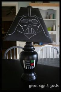 Now this is just clever. Like the construction paper Vader lampshade. That paint job with the base is cool, too.