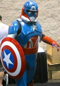 Yes, this is a Captain America Stormtrooper. Yes, it looks cool. But I don't know what side he's on.