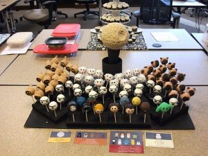 Even comes with a Rice Krispie Death Star. Still, this display includes descriptions on which character each cake pop is supposed to be.