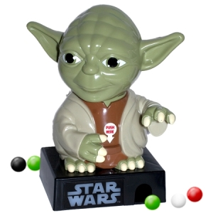 Is it just me or do you have to get gumballs from this by pressing Yoda's crotch? I'm just saying some parents might have a problem with that.