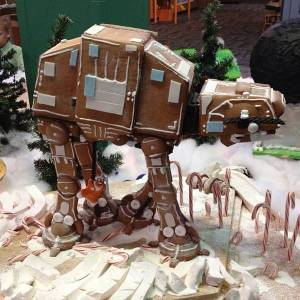 I know this isn't meant for eating. But you have to like how this Imperial walking tank is wreaking havoc among the candy canes. It's pretty funny.