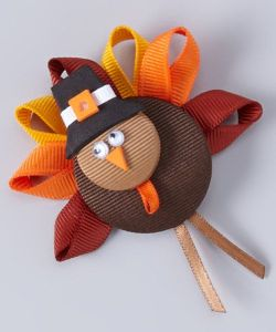 Now this was made from ribbon. Still, the googly eyes make this turkey seem dazed or cross eyed for some reason or another.