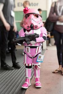 Isn't that a little short for a Stormtrooper? Still, even with the blaster, it's still pretty adorable.
