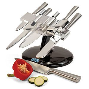 Yes, chop veggies knowing that your X-Wing knife block can destroy the Death Star if need be. Comes with 5 stainless steel knives. Still, I think the blade direction on this might pose a hazard for children.