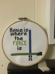 Who knew there were Star Wars fans who know how to do embroidery. Still, you have to like the crossed lightsabers.