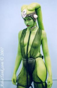 I think this might be a Twilek, whatever that is. Still, Captain Kirk would find her irresistible since he goes for green girls.