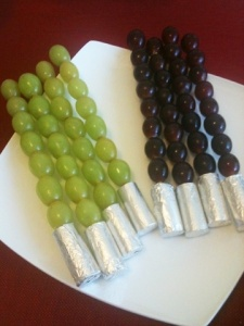 All these require are just grapes on a skewer with some foil on the bottom. But they only come in two colors.