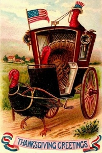 Okay, now this has a turkey pulling a hansom cab, driven by another turkey and transporting another turkey. Does anyone see anything freaky about this?