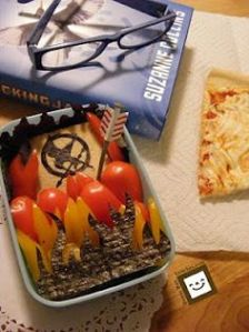 Comes with a Hunger Games sandwich and some veggie flames. Also, like the arrow stuck into it.