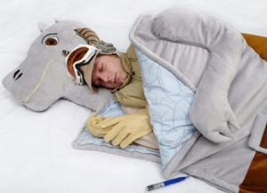 Now this piece of ridiculous merchandise was created as an April Fool's prank. Makes a lot of sense because I sure wouldn't want to sleep in the entrails of a frozen dead animal.