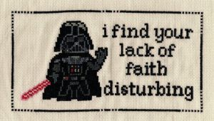 I know many won't think of Star Wars embroidery samplers exist. But still, many of these are pretty good. This Darth Vader one especially.