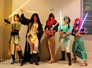 Now we have Mulan, Belle, Pocahontas, Jasmine, and Ariel. And all are wielding lightsabers but have no princes.