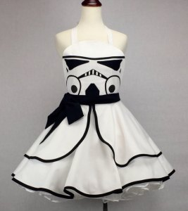 Yes, it's a Stormtrooper pinup dress. Still, ladies, you're guaranteed not to hit anything in this dress.