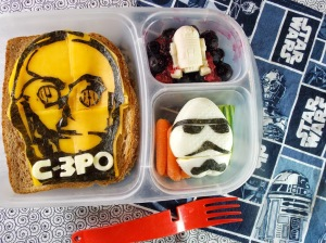 Now this includes a C-3PO cheese sandwich, a Stormtrooper egg, and whatever R2-D2 is. Still, seems rather healthy than some of these treats.