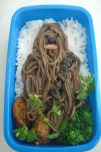 Didn't know they could make noodles to look like Chewie over rice. Still, it's quite creative if you think about it.