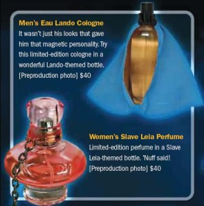 Not sure if the Star Wars saga is a great franchise to have its own perfume line. Still, love how they accessorize the bottles.