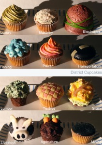 Now these cupcakes make it more apparent on which one is which. Too bad District 12 just gets black icing.