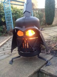 Because nothing sets the mood like Darth Vader's flaming eyes staring at you in anger. Seriously, I like the design, but doesn't seem like the kind of fireplace I'd cozy up to.