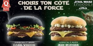This was an ad campaign from a French burger chain for Episode I in 1999. Still, while one will give you green poop, both will give you coronaries.