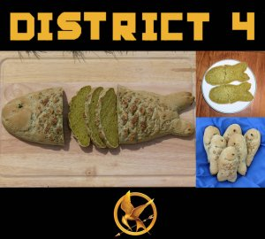 As in the books, it's a seaweed loaf. And since District 4 specializes in fishing, it's a fish.