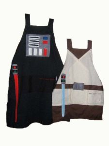 Now these are more suitable for the male cooks in the kitchen. Comes in Darth Vader and Jedi master.