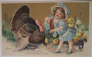 Guess a turkey needs to look his best before he goes on the chopping block. Still, the girl should know not to be that close to a turkey.