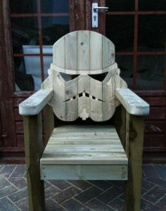 Now this project probably required a regular wooden lawn chair and some power tools. Still, even without paint, it's still pretty awesome.