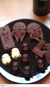 Now these consist of Darth Vader, the Millennium Falcon, a Stormtrooper, and Han Solo in carbonite. You might have to buy the molds, but these look awesome.