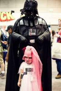 Then again, this Darth Vader is probably a great dad who's totally fine with his daughter dressing like that. Not like Darth Vader in the movies who blew up his little girl's planet.