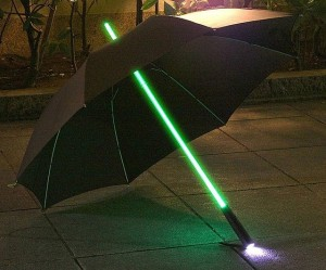 Not sure what to think about this. To me, I don't think you're supposed to have a lightsaber umbrella. Probably because I've seen people dismembered by them in the Star Wars movies.
