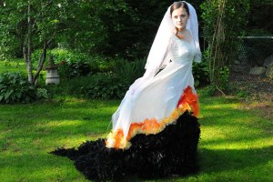 Well, Katniss's wedding dress didn't really have a veil. But still, now that she's made it look like it's burning, she's bound to wear this for many occasions.