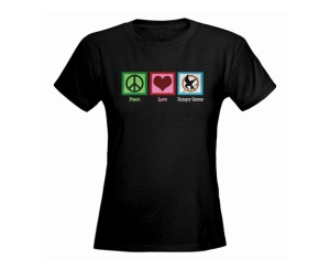 Peace, love, and Hunger Games? What the fuck? Does the designer have any idea that the Hunger Games is the exact opposite of peace and love. War, hate, and Hunger Games would've been more appropriate.