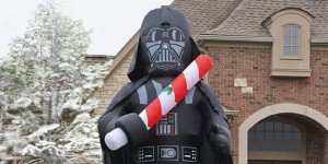 Because nothing personifies the spirit of Christmas like a Sith Lord who force chokes his underlings, blows up his daughter's planet, and cuts off his son's hand. Yes, true Christmas spirit, indeed.