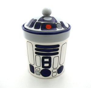 Just get a cookie jar from the craft store and paint it like R2-D2. It's simple really.
