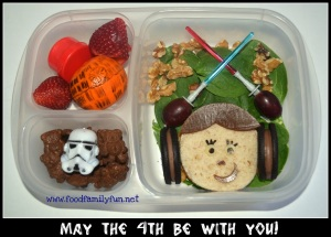 Now this includes a Princess Leia sandwich with a Death Star orange. Still, I like how they used Oreos for Leia's hair.