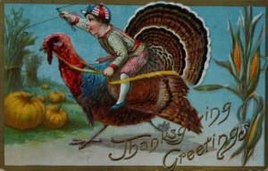 Now that turkey has to be huge for that kid to ride on it. Of course, I know what he'll end up when he's old and gray.