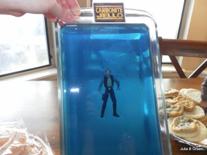 Okay, this looks less like Han Solo frozen in carbonite, than of Han Solo being found dead in the pool. Then again, they don't make gray jello so blue will have to do.