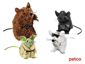 These consist of Chewbacca, Darth Vader, Yoda, and a Stormtrooper. And they look like rats. Lovely.
