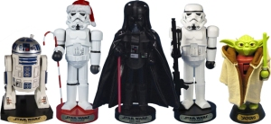 Now these consist of Darth Vader, R2-D2, Yoda, regular Stormtrooper, and Christmas Stormtrooper. Christmas Stormtrooper is wearing a Santa hat and carries a candy cane.