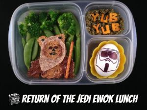 Contains an Ewok sandwich and a Stormtrooper egg. Nevertheless, it is adorable.
