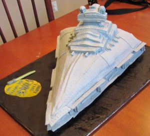 You know the kind of ship Darth Vader travels in? There's a cake for that.