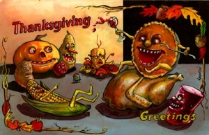 Is it just me or does anyone think the pumpkin pie had too much wine? Also, why is almost everything in this picture have such freaky faces?