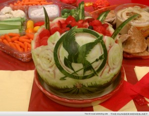 You know this is a Hunger Games fruit salad because the watermelon contains the Mockingjay. Yeah, you kind of have to admire the artistry here.